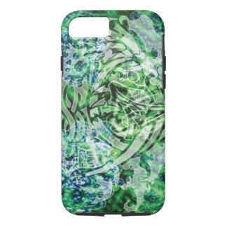 デジタル抽象的な種族の芸術、緑及び白 iPhone 8/7ケース