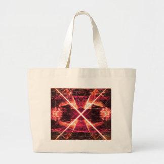 デジタル放射状色の汚点の白熱芸術美しいDes ラージトートバッグ