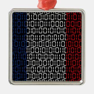 デジタル旗フランス メタルオーナメント
