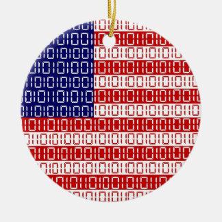 デジタル旗(米国) セラミックオーナメント