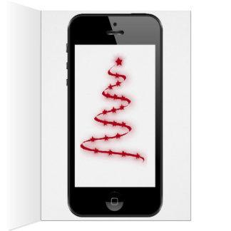 デジタル木が付いている頭が切れるな電話クリスマスメッセージ カード