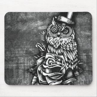 デジタル木製の基盤の賢い入れ墨のスタイルのフクロウがあって下さい マウスパッド