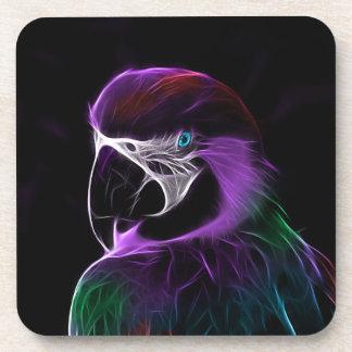 デジタル紫色のオウムのフラクタル コースター