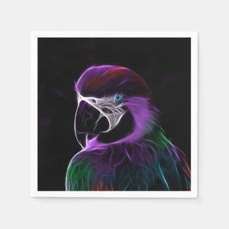 デジタル紫色のオウムのフラクタル スタンダードカクテルナプキン