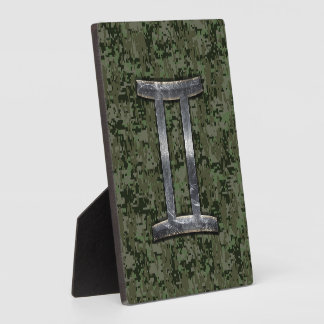 デジタル緑のカムフラージュのジェミニ(占星術の)十二宮図の印 フォトプラーク