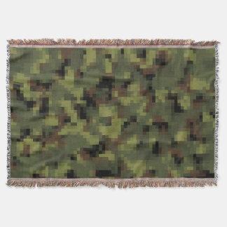 デジタル緑の軍の迷彩柄 スローブランケット