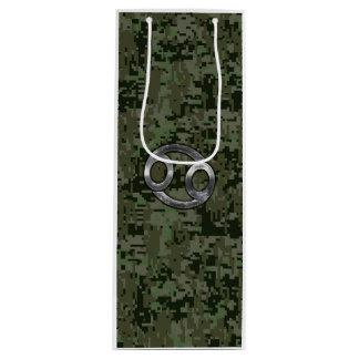 デジタル緑の迷彩柄の蟹座の(占星術の)十二宮図の記号 ワインギフトバッグ