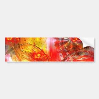 デジタル赤い抽象芸術 バンパーステッカー