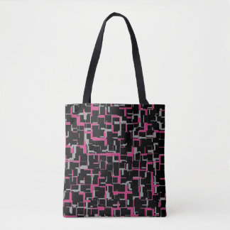 デジタル迷彩柄の黒のマゼンタの灰色パターン トートバッグ
