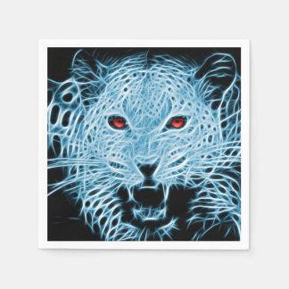 デジタル青いヒョウのフラクタル スタンダードカクテルナプキン