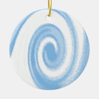 デジタル青および白い写実的な螺線形の波 セラミックオーナメント