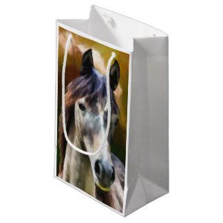 デジタル馬のポートレートの絵画 スモールペーパーバッグ