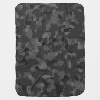 デジタル黒い迷彩柄 ベビー ブランケット