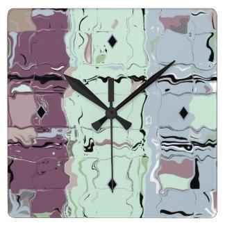 デジタル黙した暖かい芸術のお洒落なアクリルのカスタムな時計 スクエア壁時計