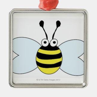 デジタル《昆虫》マルハナバチ シルバーカラー正方形オーナメント