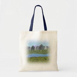 デジタルPainting_Mountainsおよび川のバッグ トートバッグ