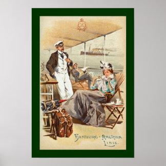 デッキのハンブルクAmerika~SS Furst Bismark~Men/Woman ポスター