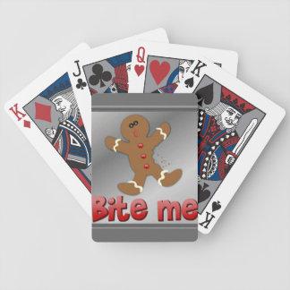 デッキカードを遊ぶクリスマスのジンジャーブレッド バイスクルトランプ