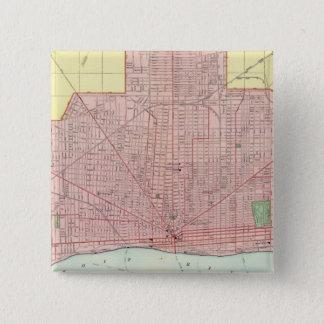 デトロイトおよび近辺 5.1CM 正方形バッジ