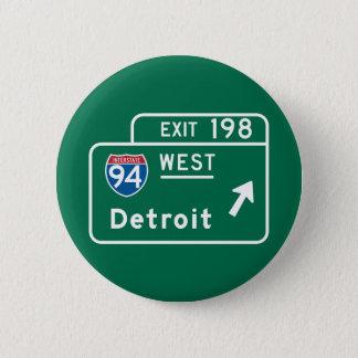 デトロイトのMIの交通標識 5.7CM 丸型バッジ