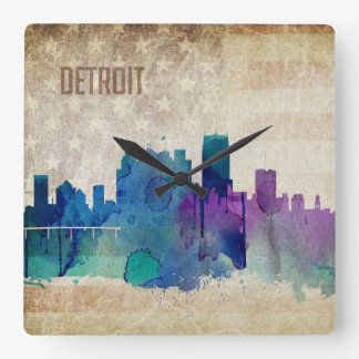 デトロイトのMI |の水彩画都市スカイライン スクエア壁時計