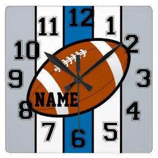 デトロイトはフットボールの柱時計を着色します スクエア壁時計