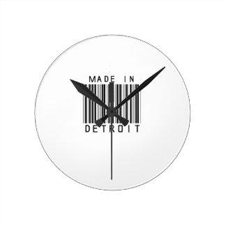 デトロイトバーコードで作られる ラウンド壁時計