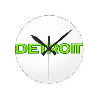 デトロイトミシガン州未来派新しいモーター都市再生 ラウンド壁時計