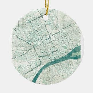 デトロイト地図の青のヴィンテージ セラミックオーナメント