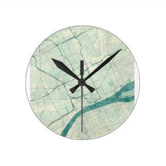 デトロイト地図の青のヴィンテージ 時計