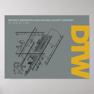 デトロイト空港(DTW)空港図表 ポスター