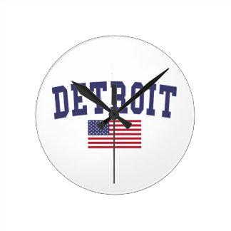 デトロイト米国旗 クロック
