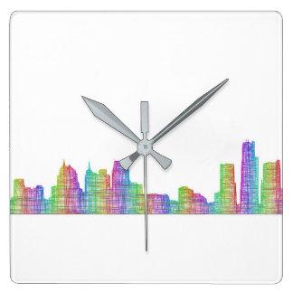 デトロイト都市スカイライン スクエア壁時計