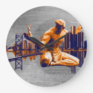 デトロイト都市 ラージ壁時計