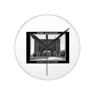 デトロイト駅 ラウンド壁時計