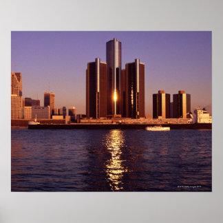 デトロイト2の水による超高層ビル ポスター