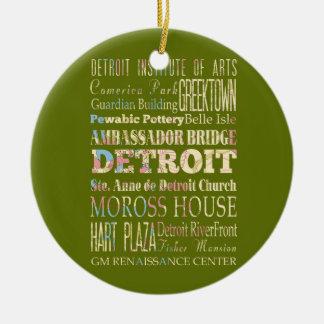 デトロイト、ミシガン州の魅力及び有名な場所 セラミックオーナメント
