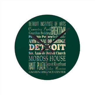 デトロイト、ミシガン州の魅力及び有名な場所 ラウンド壁時計
