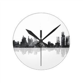 デトロイト、ミシガン州スカイライン ラウンド壁時計
