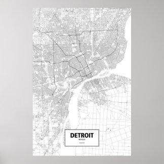 デトロイト、ミシガン州(白の黒) ポスター