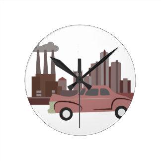 デトロイト ラウンド壁時計