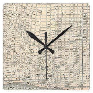 デトロイト(1895年)のヴィンテージの地図 時計