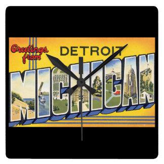 デトロイトMichigan_Vintage旅行からの挨拶 スクエア壁時計