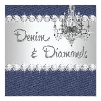 デニムおよびダイヤモンドのパーティの招待状 カード