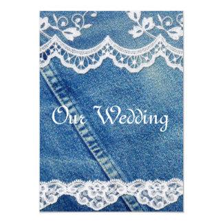 デニムおよびレースの素朴な国の結婚式招待状 カード