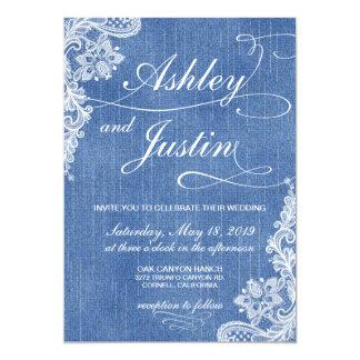 デニムおよびレースの素朴な結婚式招待状 カード