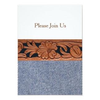 デニムおよび革西部ベルトの招待状のテンプレート カード
