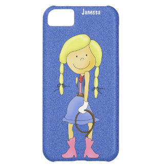 デニムおよびiPhoneの箱の女性のカーボーイ iPhone5Cケース