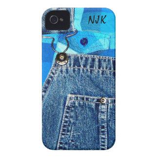 デニムのジーンのオーバーオールおよび格子縞のシャツ Case-Mate iPhone 4 ケース