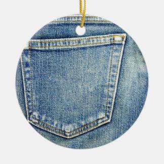 デニムのジーンズのポケット青い生地のスタイルのファッションの金持ち セラミックオーナメント